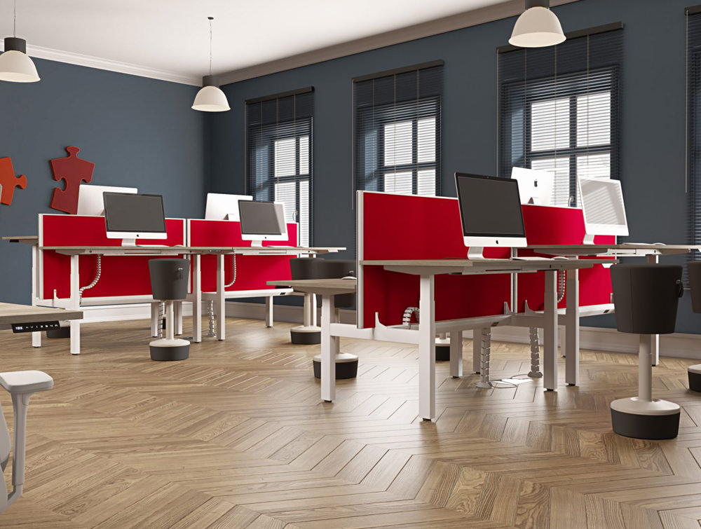 Leap-Electric-Sit-Stand-Bench-Desks-in-Oak-with-Red-Screen-Dividers