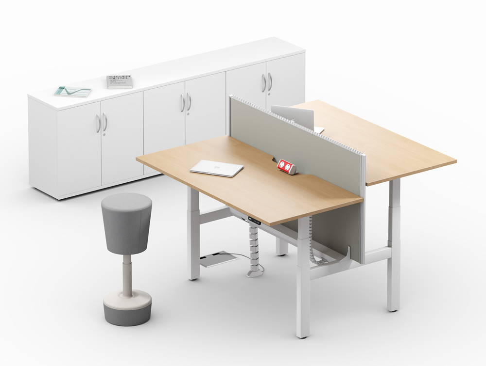 Leap-Electric-Sit-Stand-Bench-Wooden-Desks-with-Movement-Chairs-and-Credenza-Unit