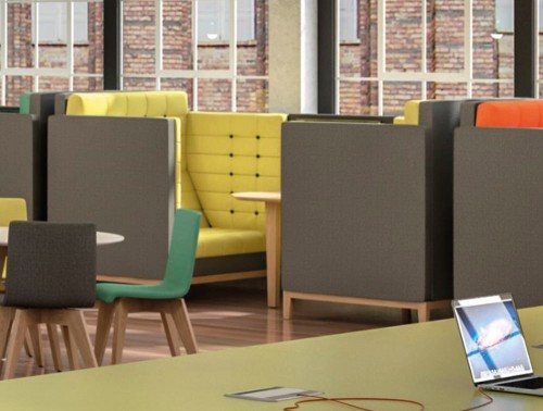 Jig Cave Meeting Pod with Wooden Central Table and Yellow Upholstered Seating