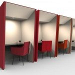 Anders work booths in red color with overhead led lights