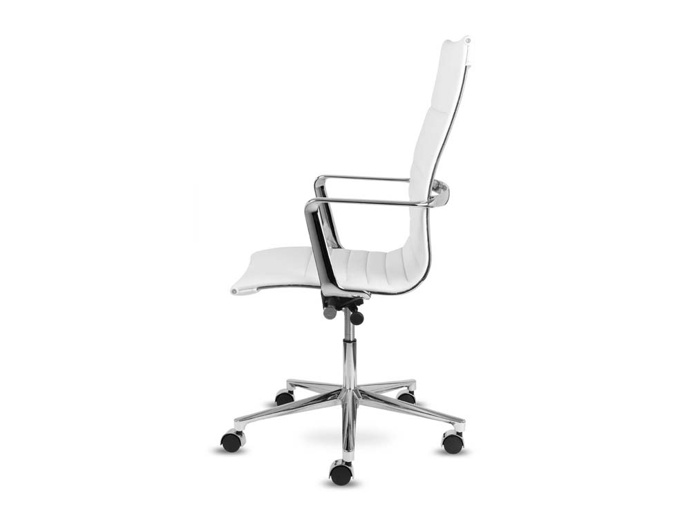 aquila high back executive ribbed swivel armchair in leather