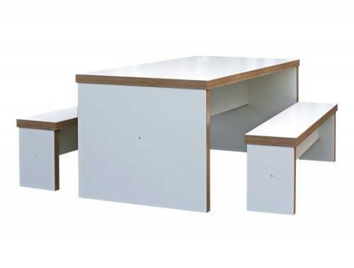 BLK Block White Canteen Table and Benches - radius office furniture