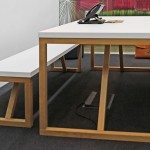 Block Wood Canteen Table and Benches front angle