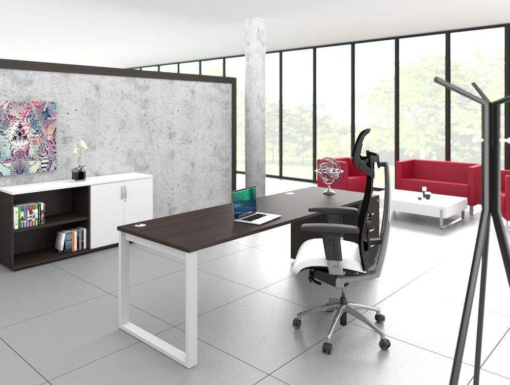 ... Closed Leg Desk With Dark Walnut Table Top And Executive Office Chair  ...