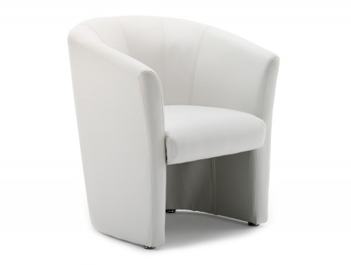 Dynamic neo reception single tub chair in white leather