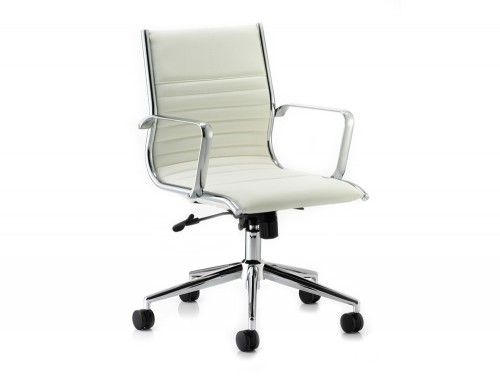 Dynamic ritz executive chair medium back in soft ivory leather