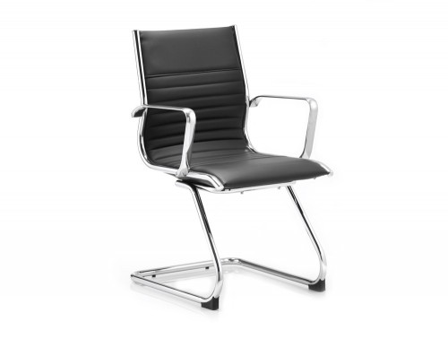 Dynamic ritz cantilever black chair in soft leather