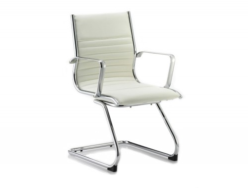 Dynamic ritz cantilever ivory chair in soft leather
