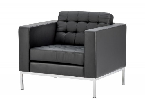 Dynamic infinity padded black leather buttoned armchair with chrome legs