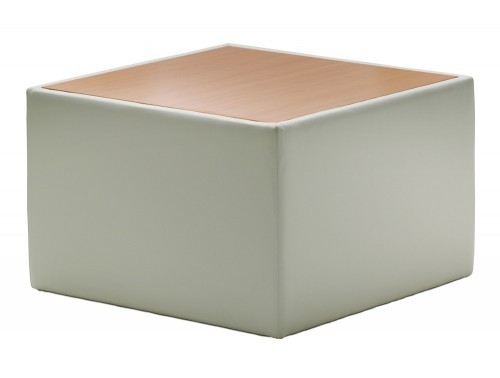 Dynamic oracle square table in ivory leather with oak top