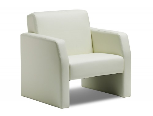 Dynamic oracle armchair in ivory leather