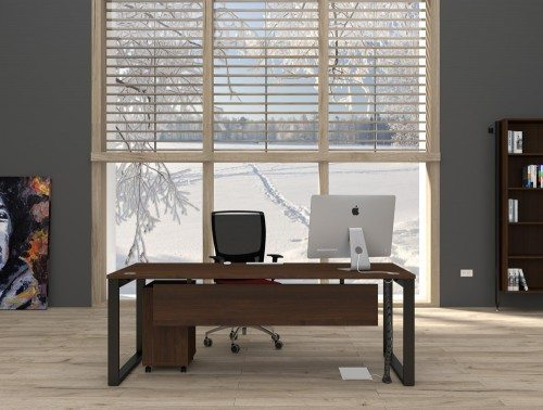 Dark Wood Finish Executive Desk with Modesty Panel and Black Chair