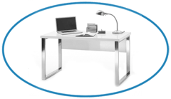High Gloss Home Office Desk in White
