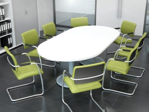 Kito Breakout Table With Grey Top And Green Chairs
