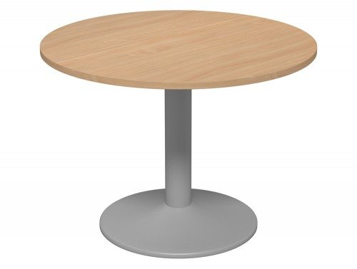 Kito Meeting Round Meeting Table Single Cylinder Leg Base 1000 Be Slv