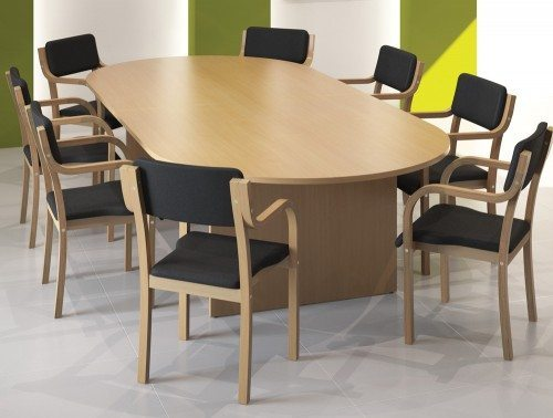 Kito Meeting Table In Beech With Wooden Chairs