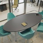 Kito Oval Black Meeting Table With Tubular Leg