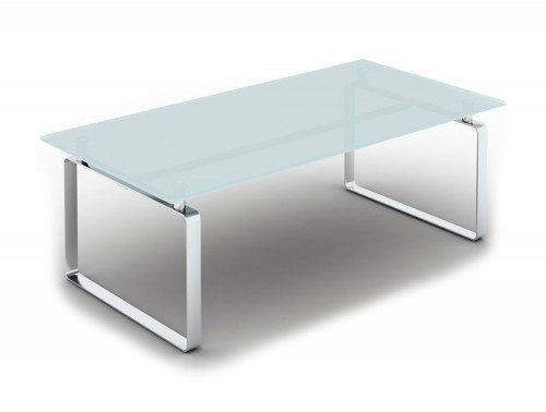 Loop Rectangular Coffee Table with Closed Chrome Frame in Glass