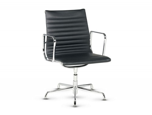 Libra executive ribbed swivel armchair in black leather low back