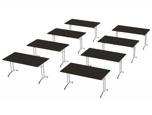 Morph Meeting Configuration Single Desk in Zebrano Wild Chrome
