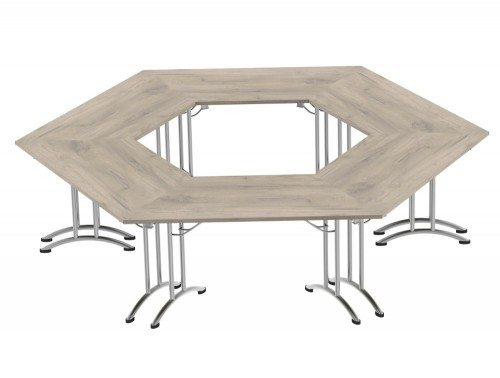 Morph Meeting Configuration Hexagon Shaped in Grey Craft Oak