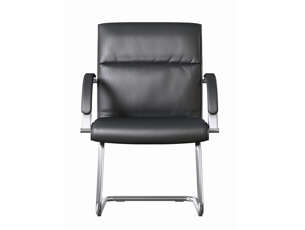 ON Series Boardroom Cantilever Chair In Black Leather