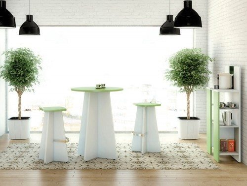Buronomic round snack table with stool and shelving unit