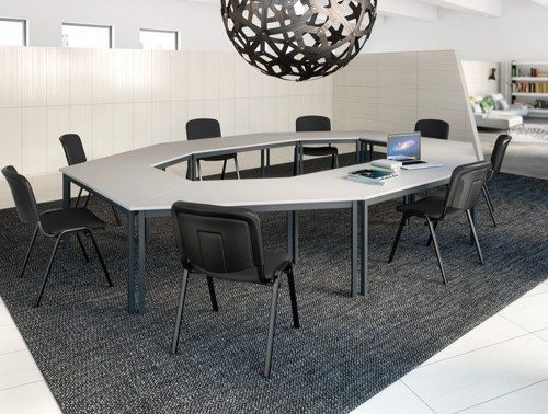 Buronomic straight and trapezoidal multipurpose tables in white