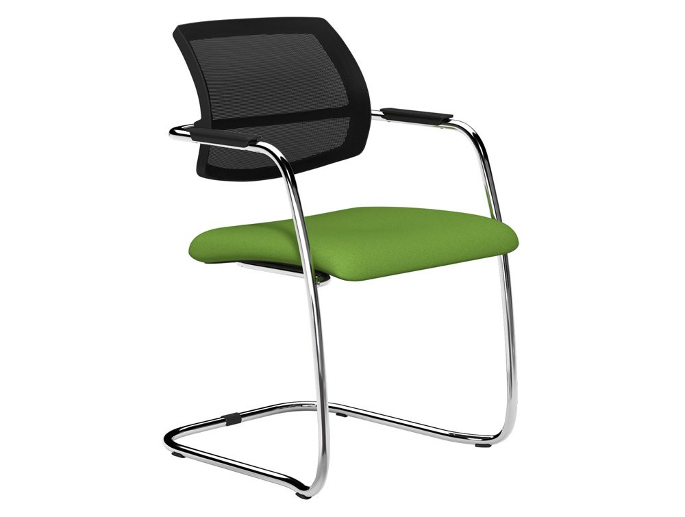 oq mid mesh backrest stacking meeting chair chrome frame in green