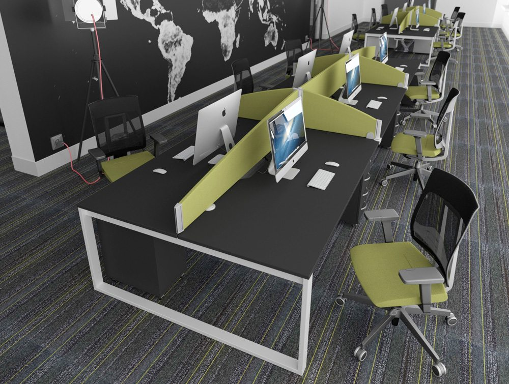 ... Office Desks With White Closed Legs And Black Table Tops And Pale Green  Desk Screens And ...