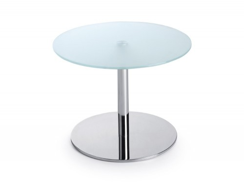 450mm height Profim SR table in tempered glass and round base