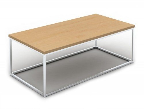 PT1206B Pitch Rectangle Coffee Table with Closed Chrome Frame in Beech