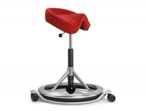 Polished Aluminium Back App with Wheels and Black Ball in Red