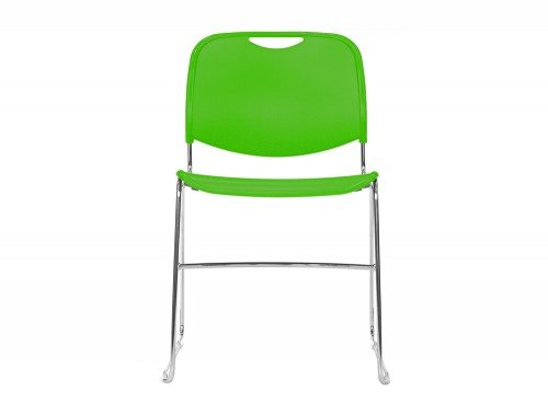 Reach Stackable Sled Chair in Green Front Angle