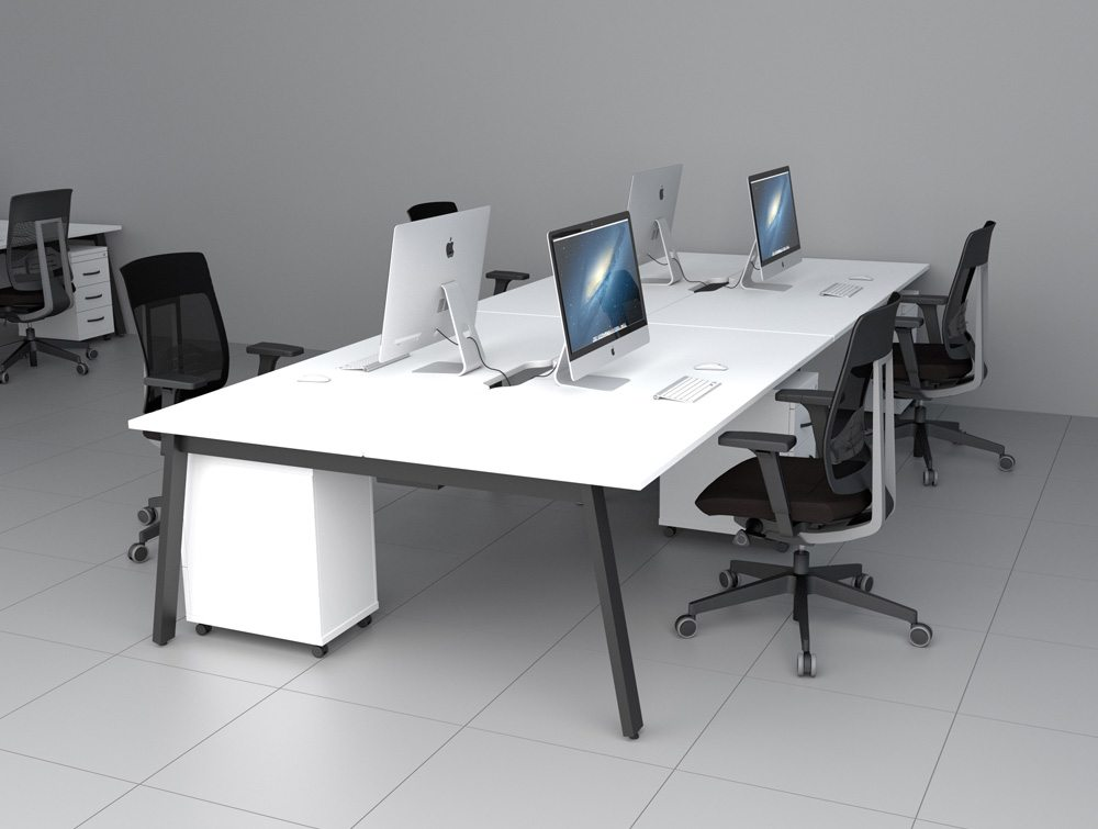 switch radial desk with desk high pedestal   a leg in white