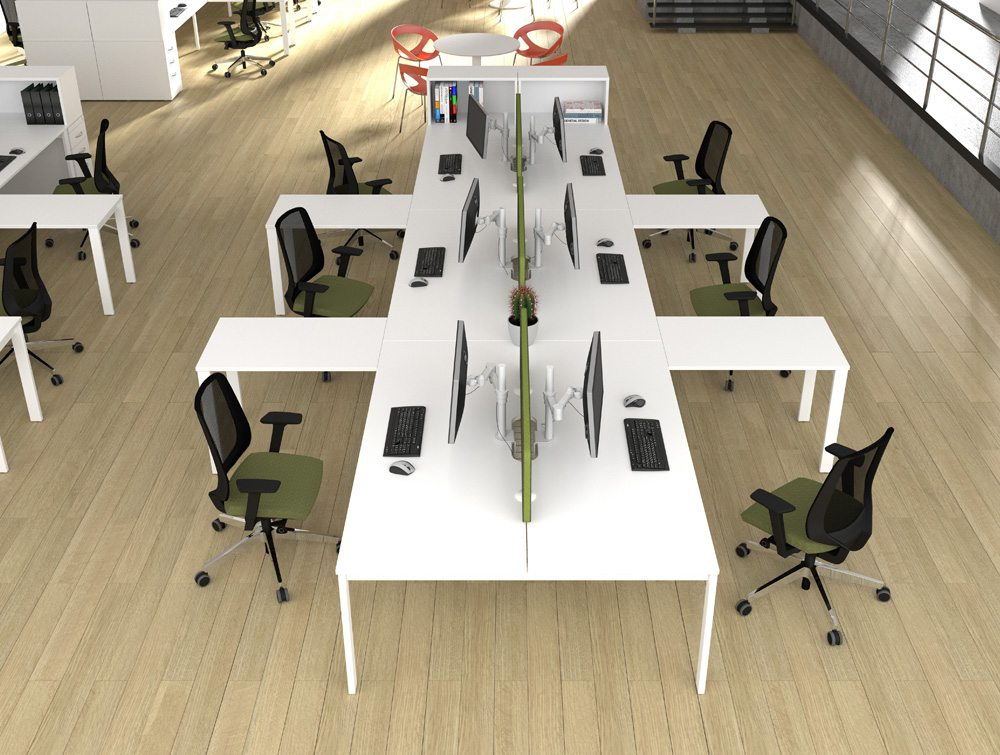 Switch Radial Desk With Desk High Pedestal Amp A Leg In White