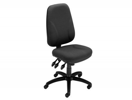 Trexus Intro Maxi Operator Chair Asynchronous High Back without Adjustable Armrest in Charcoal