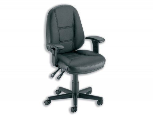 Trexus Intro Operators Chair PCB High Back with Adjustable Armrest in Black Leather
