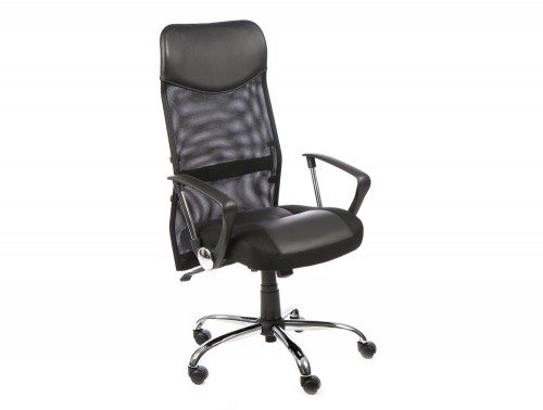 ... Vegas Executive Chair Black Leather Seat Black Mesh Back With Leather  Headrest With Arms Featured Image