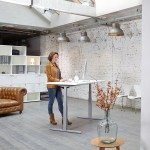 White Leap Sit-stand Desk in Warehosue with Chesterfield