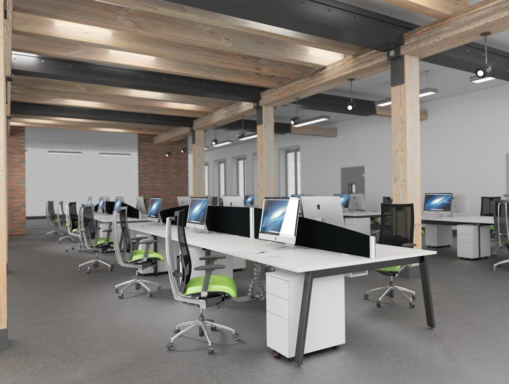 White And Black Office Desks With Desk Mounted Screens Lime Green Chairs