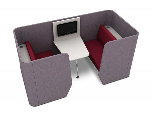 Zone 4-Seater Meeting Pod with Media Table in Red
