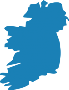 ireland shape icon in blue matte color, png format