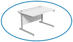 Top Image White Straight Desk with Cantilever Legs