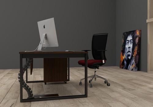 Dark Straight Desk with Burgundy Chair