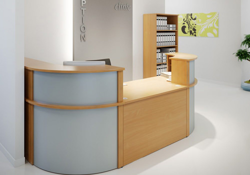 Maple Reception Desk with Curved Edges