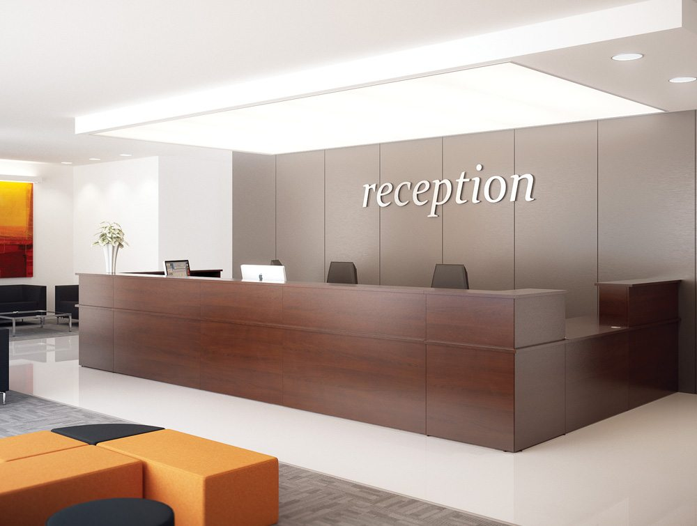 Ashford Reception Desk Riser In Beech Radius Office Uk